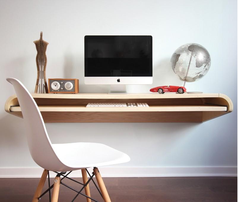 minimal float wall desk in Rift Oak at rosenberry rooms XJQZEBY