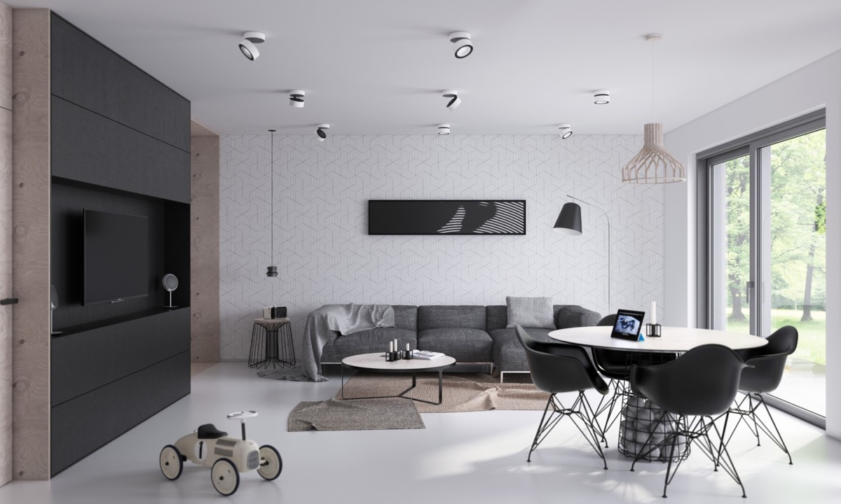 minimalist living room 36 |;  Visualizer: architektura design ZSUBBKA
