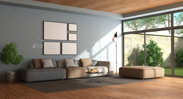 minimalist living room - stock photos - images VQMSRJB