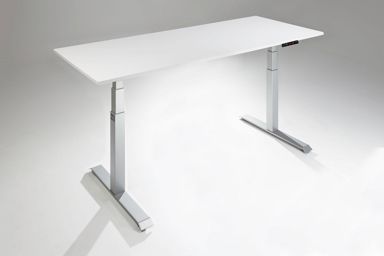 mod e pro height-adjustable standing desk silver base white table top UTQYENR