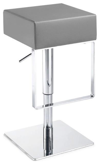 modern adjustable bar stool aria backless adjustable bar stool made of leather, gray leather UDXMYXU