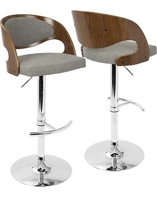 modern adjustable bar stool Lumisource Pino Mid-Century modern adjustable bar stool with swivel joint (walnut + gray EXUTMKG