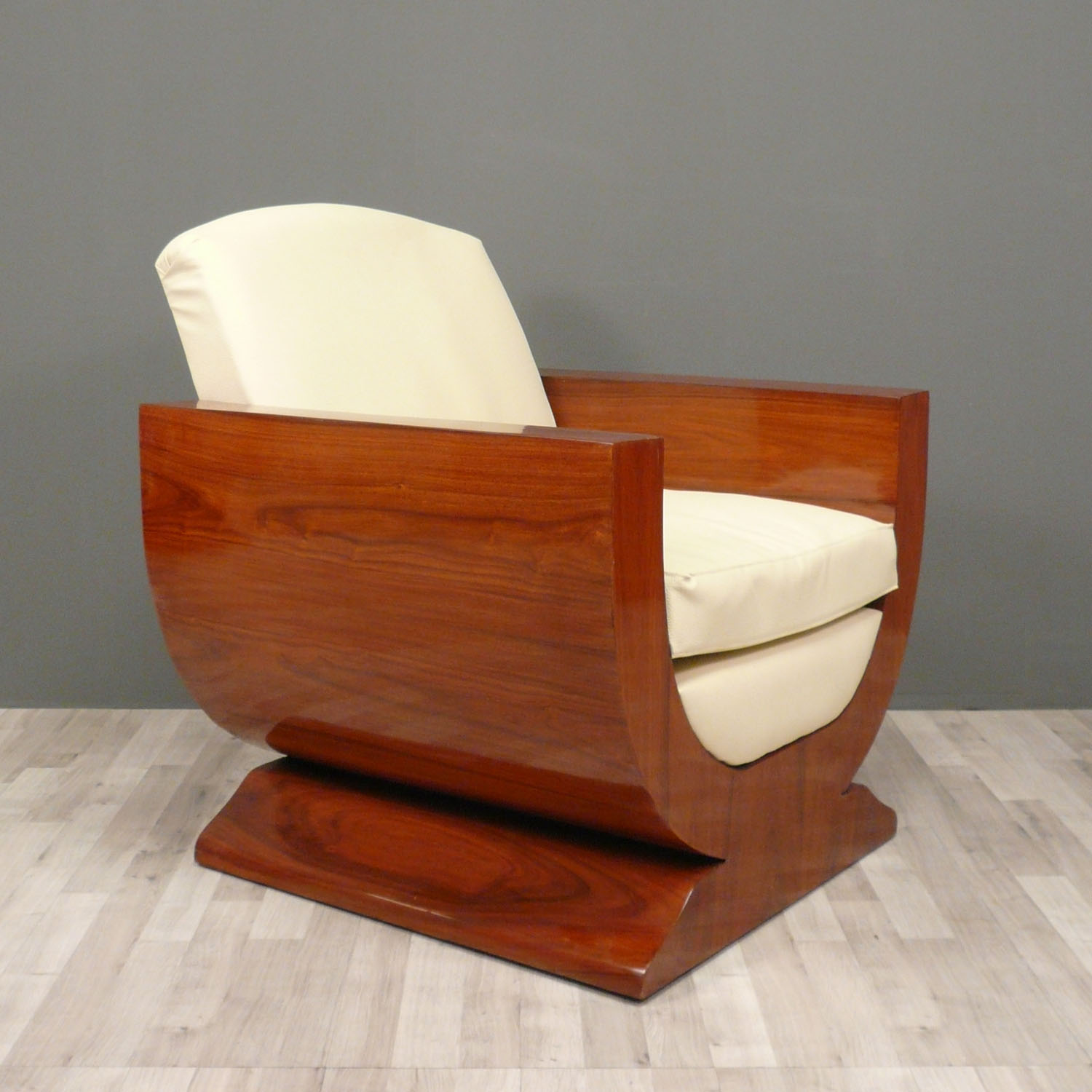 modern art deco furniture, palatially curved art deco furniture made of wood with white fabric seat as REPHIVY