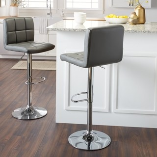 modern bar stool Lehmerle Home Galena chrome and synthetic leather height-adjustable bar stool (set QGQUJSL