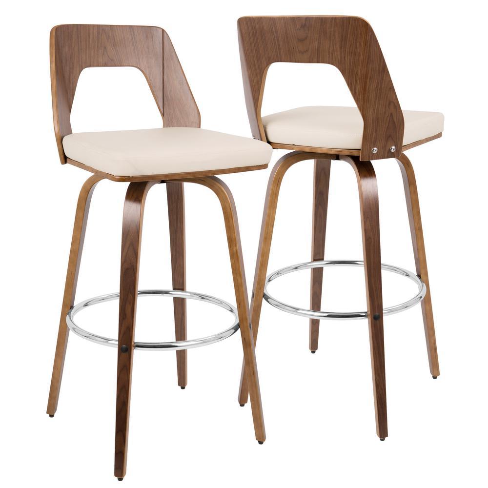 modern bar stool Lumisource trilogy walnut and cream Mid-Century modern bar stool DMOCKZF