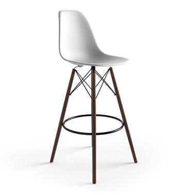 modern bar stool molded plastic bar stool with wooden legs XWSGJTM