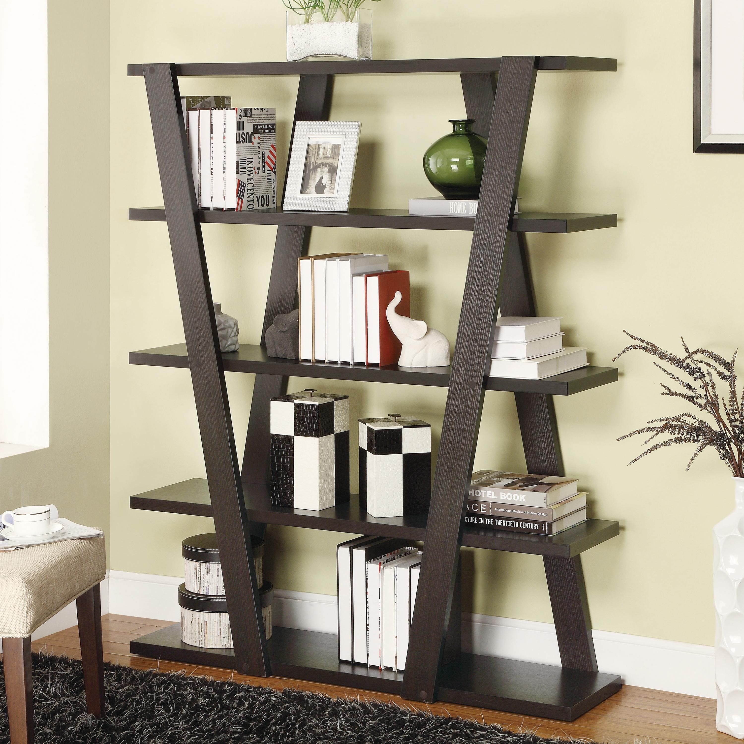 contemporary bookcase bookcases modern bookcase with inverted supports & open shelves by coasters RJXJJAO