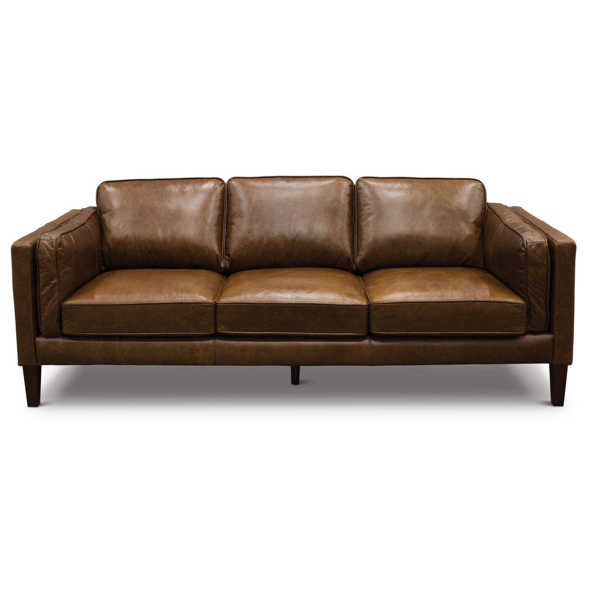 modern classic cocoa brown leather sofa - Brompton |  rc willey furniture ZLEHHDF