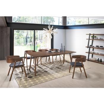 modern dining room set Modrest oritz Mid-Century modern walnut dining room set EDYDFNY