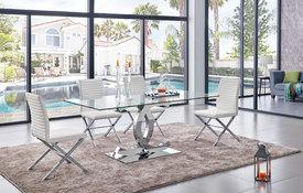 modern dining room sets ... rectangular glass / modern chrome table UJOHWNE
