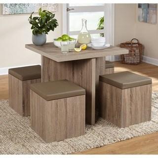 modern dining room sets Simple Living 5-piece Baxter dining room set with storage stool UZNUBDX