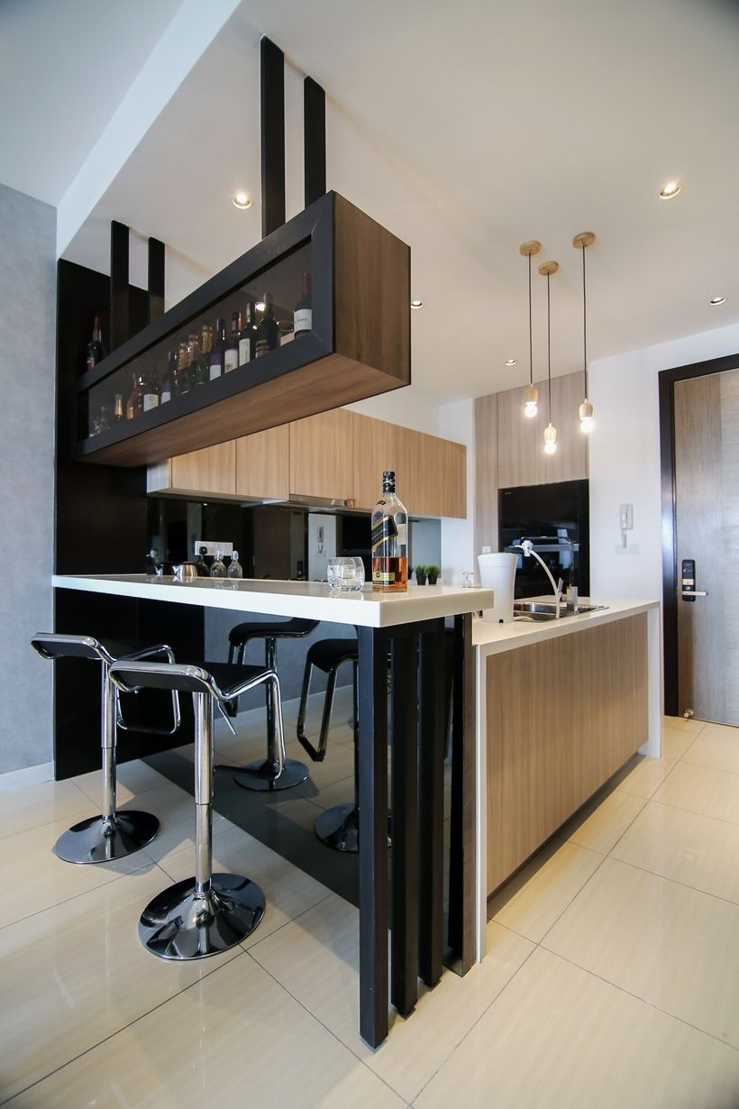 modern kitchen design with integrated bar counter for a small condominium CLERMJG