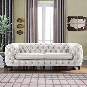 modern Chesterfield sofa made of real leather in tufted look with integrated shelf compartment DHPORNV