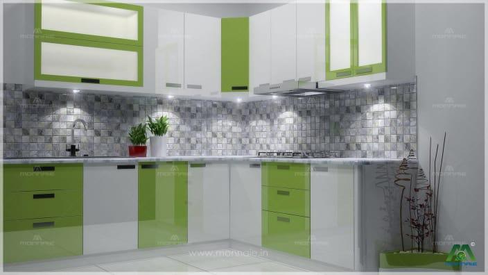 modular kitchen design green and white shaded modular L-shaped kitchen HYQGZIA