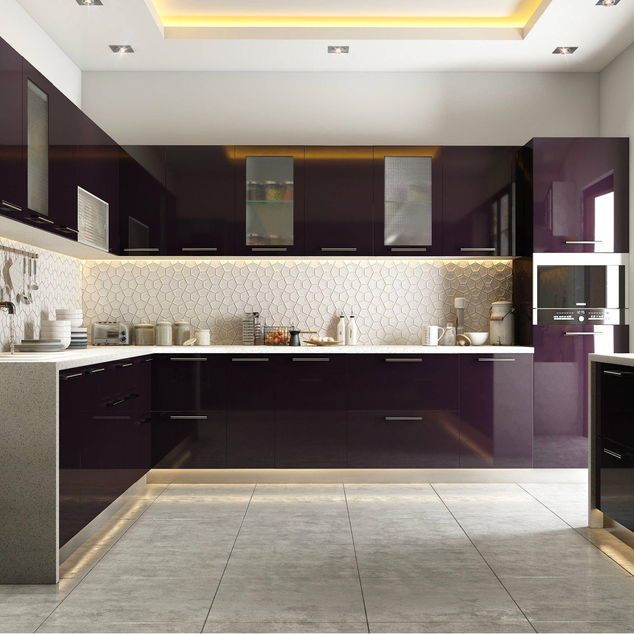 modular kitchen design modular kitchen in burgundy tones IHZQQJP