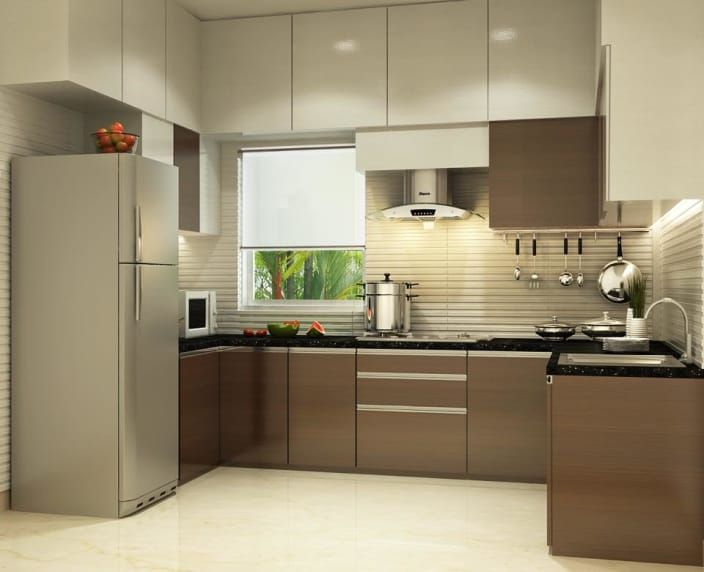 Modular kitchen design U-shaped kitchen with modern cabinets and false ceiling XFTNCHC