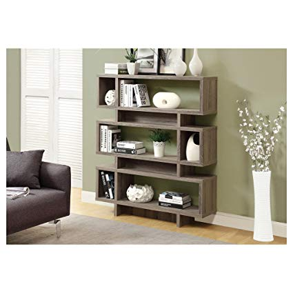 monarch modern bookshelf in reclaimed look, 55 inches, dark taupe YCSWZHV