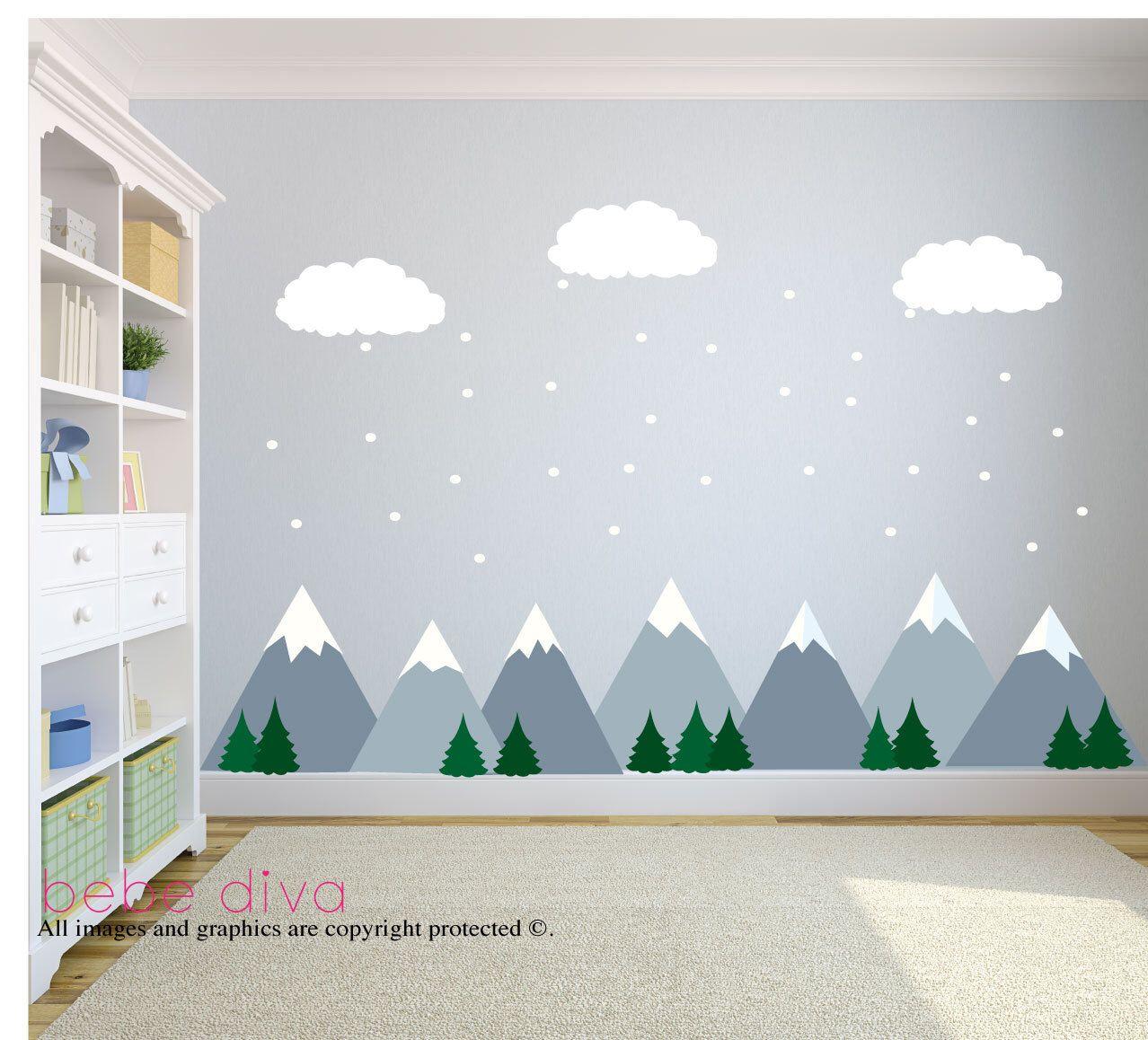 Mountain wall decal, nursery wall decal, baby wall decal, kids wall decal, KSYUWZM