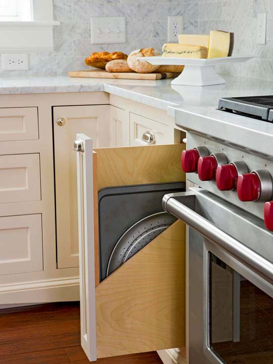 Clever storage ideas for the kitchen that use uncomfortable, empty spaces