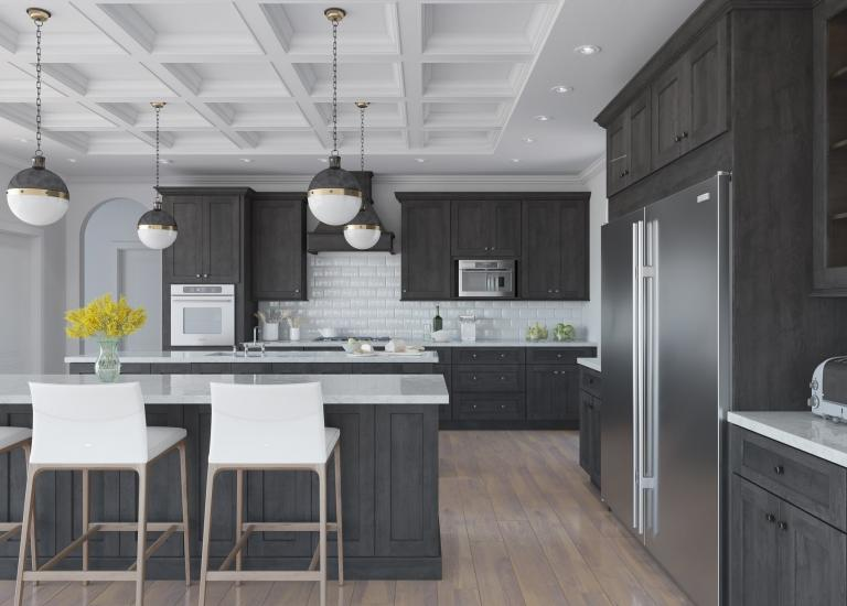 natural graphite gray shaker pre-assembled kitchen cabinets LVOYRNW