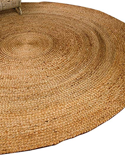 naturalarearugs elsinore round jute carpet, 100% natural jute, hand-woven by IZUEADT