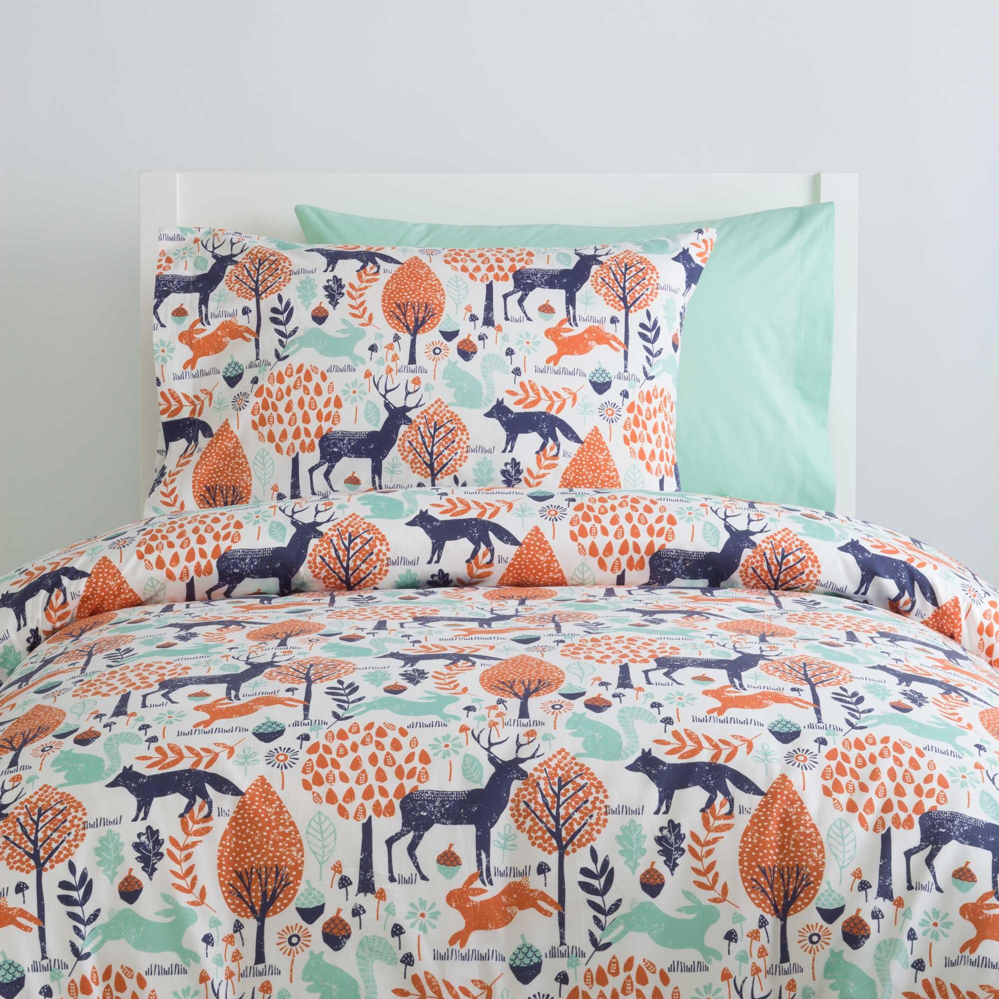 Woodland children's bed linen in navy and orange WJZGKHB