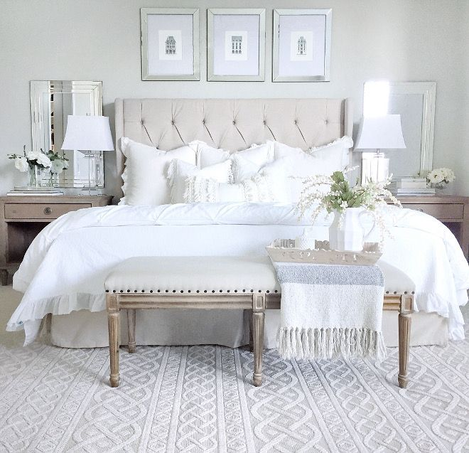 Neutral bedroom decor ideas.  Neutral bedroom with tufted.