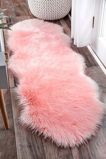 nuloom hjfl02b Terrell solid sheepskin imitation rug, 2u0027 x 6u0027, rouge XOSKIYU