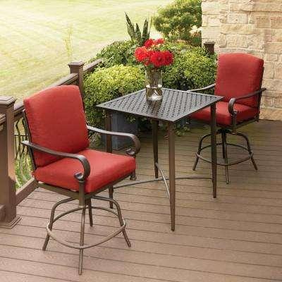 Oak rock 3-piece metal outdoor balcony height bistro set with chilli IGNGPRS
