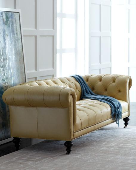 old hickory tannery Morgan Sunshine Chesterfield leather sofa UXJAOFU