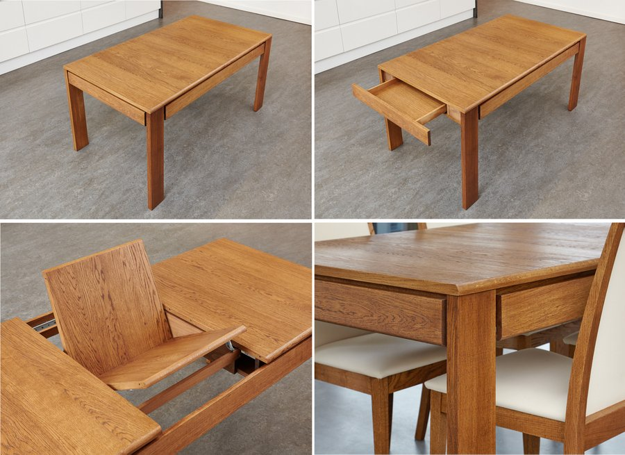 olten extendable dining table with drawer - oak finish QLNPBLD