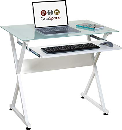 onespace ultra-modern computer table made of glass, with extendable keyboard shelf, white CYVNXWU