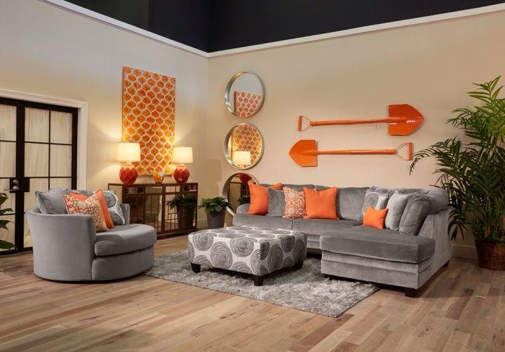 GFAL Hazy Gray Sectional    Living room orange, burnt orange life.