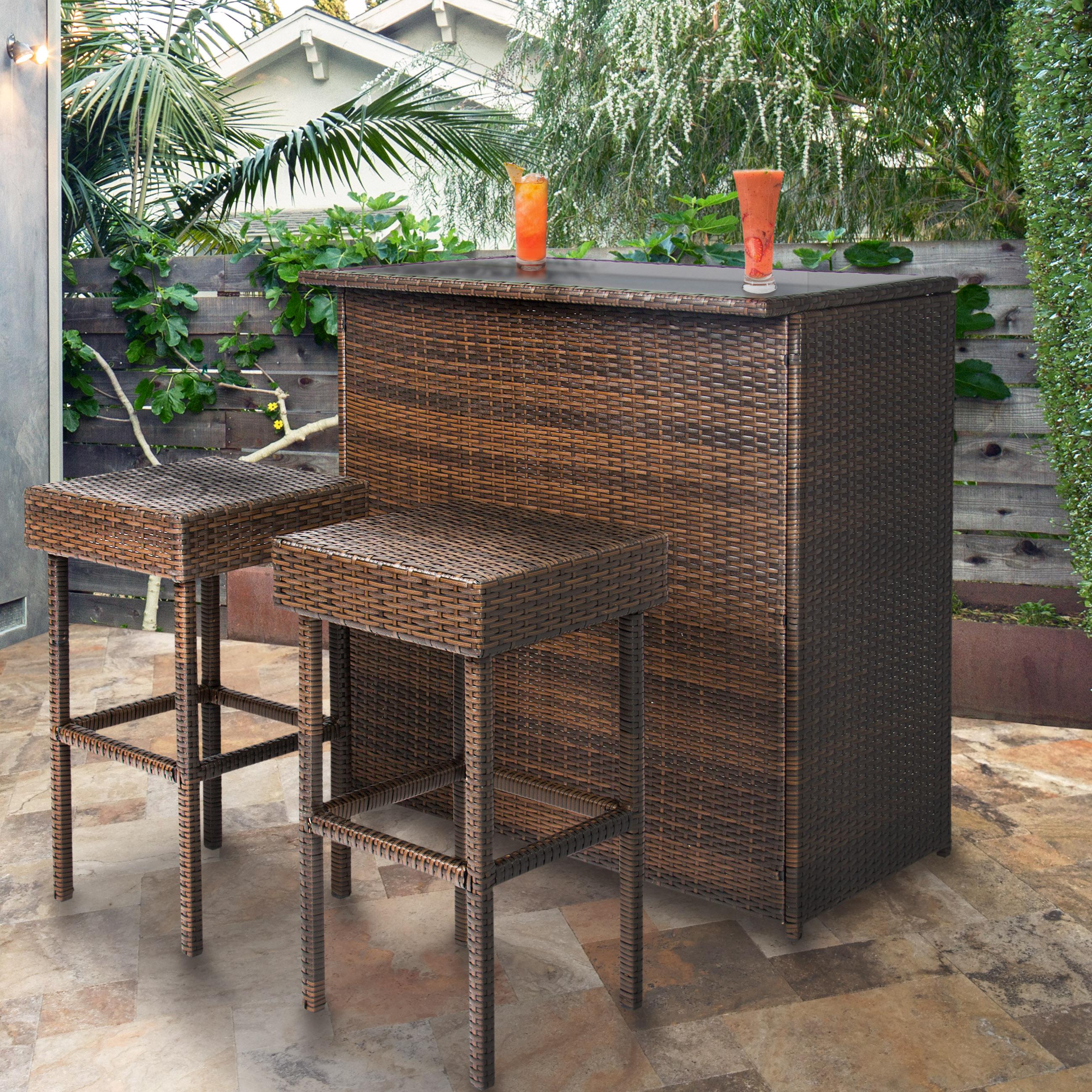 Outdoor Bar Furniture Best Choice Products 3 Piece Basket Bar Set Patio Outdoor Backyard Table & PPRFHIB