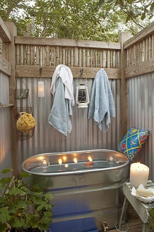 Here is a simple and cheap outdoor bathroom design idea.  Swimming .