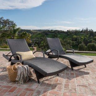 Outdoor chaise longue Peyton adjustable wicker chaise longue (set of 2) TKASLZV