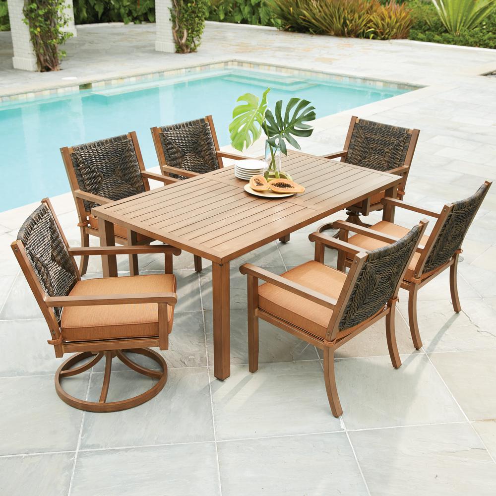 Outdoor dining set Hampton Bay Kapolei 7-piece wicker outdoor dining set with red-brown YKTOHRF