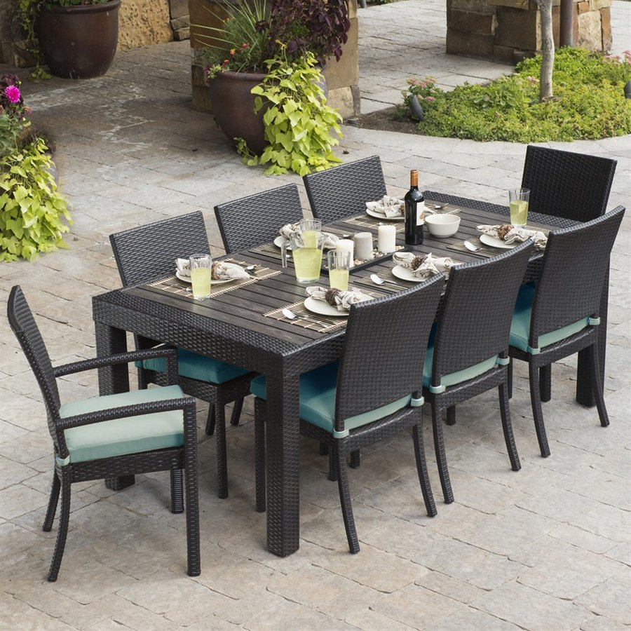 Outdoor dining sets rst brands deco 9-piece terrace dining set made of composite material JEDNTUV