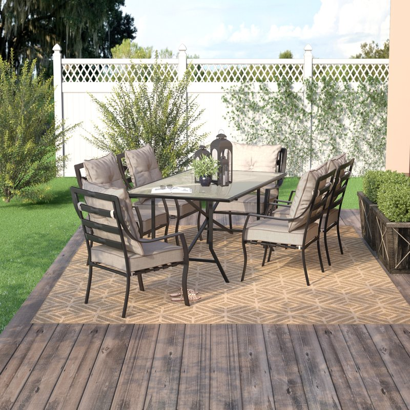 Outdoor dining sets Sweetman 7-piece outdoor dining set with pillows NUMIJOQ
