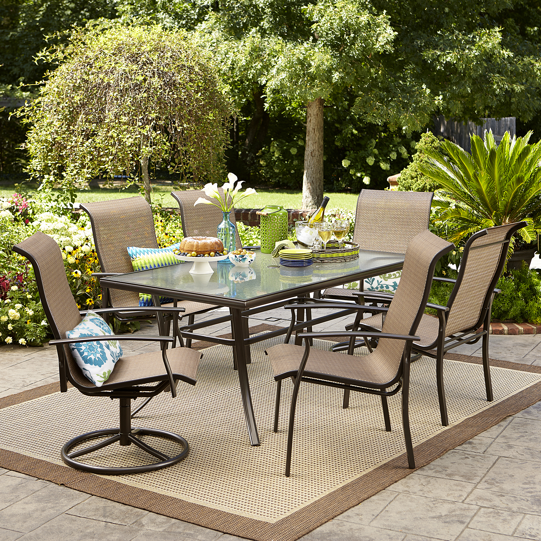 Outdoor dining sets Dining set with structured glass top * limited availability JRQSOYB