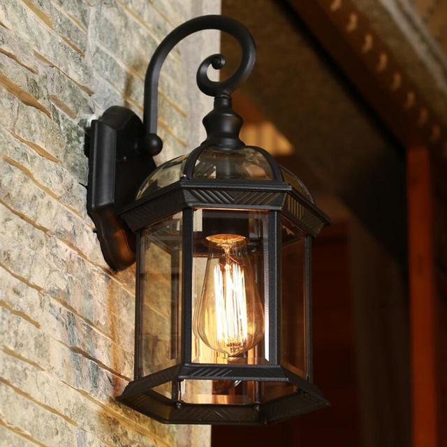 Outdoor lights Europe LED veranda lights outdoor wall light black housing clear glass shade BQEFGZJ