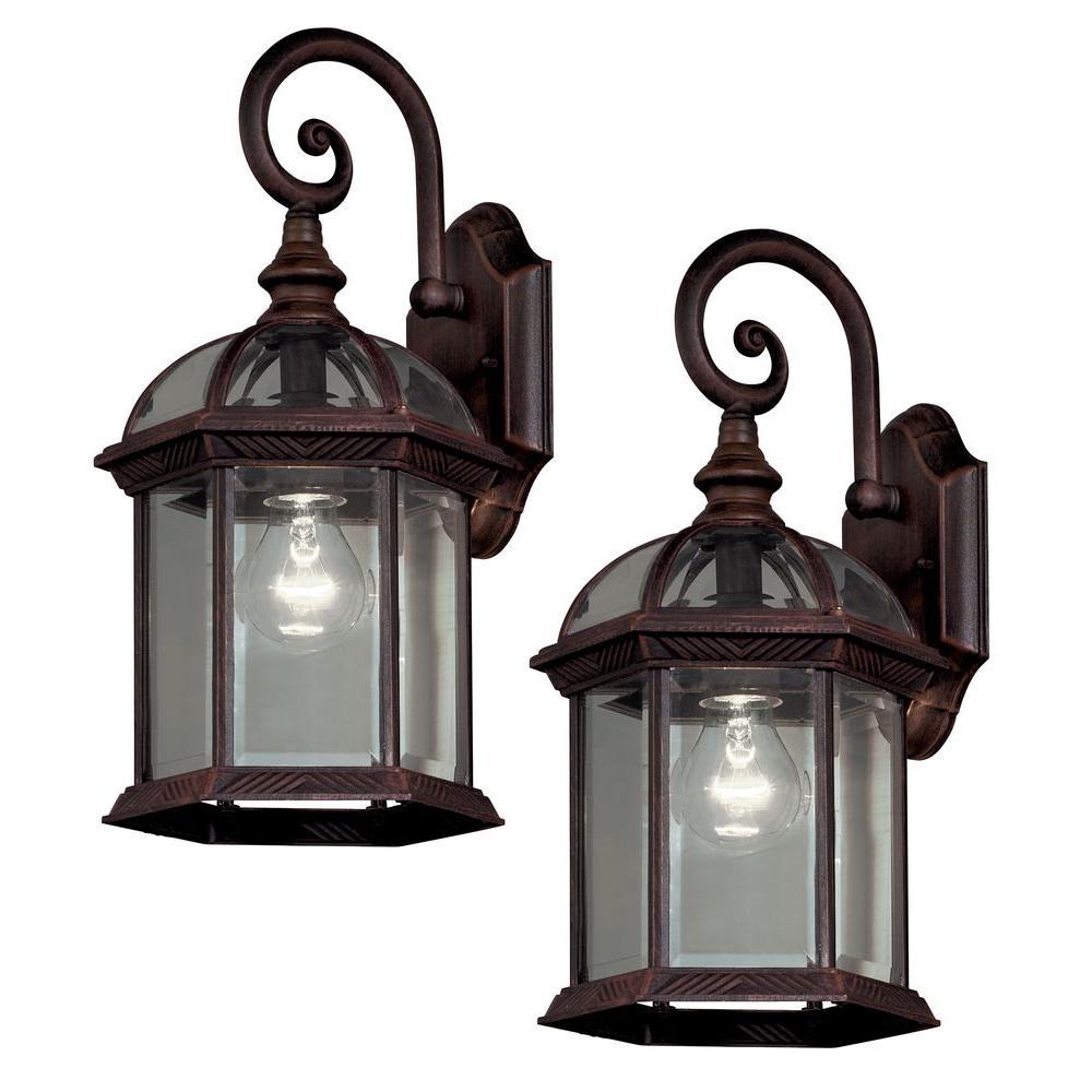 Outdoor lights Hampton Bay double pack 1-lamp outdoor lantern made of weathered bronze YJTMXZR