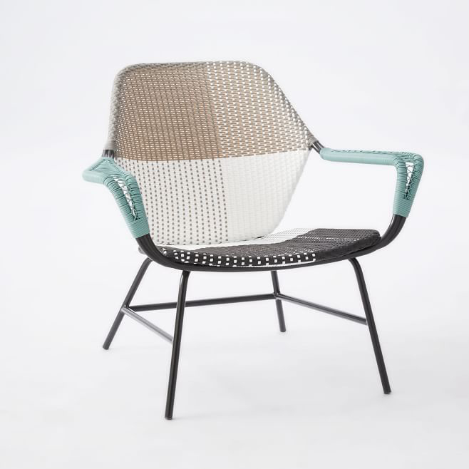 Outdoor lounge chair All-weather wicker color block woven lounge chair at West Elm GJFDDXA