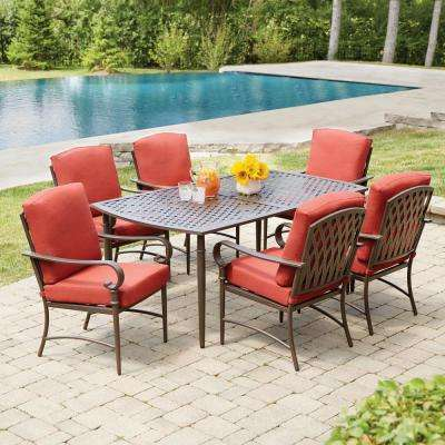 Garden furniture made of oak Klippe 7-piece garden furniture set made of metal with chilli cushions DPZZXPT