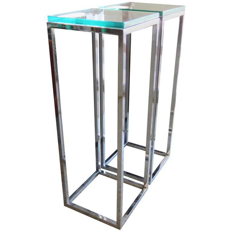 Pair of classic tall chrome pedestal tables for sale MKAOFJW