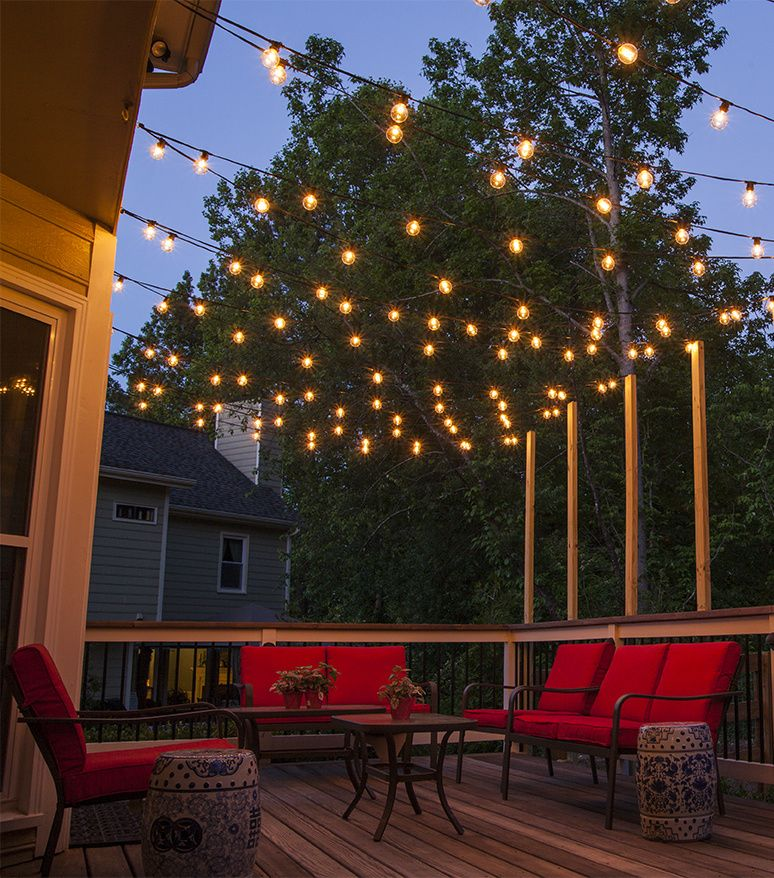 Patio Lighting Hang patio lights over a backyard deck, outdoor living area, or patio.  QITGKMS