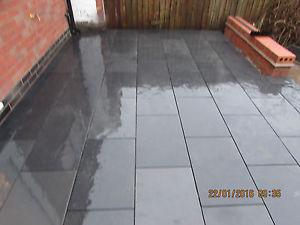 terrace slabs image is loading black-slate-paving slabs-terrace-600x400-30m2-bundle15mm-RKRJYXZ