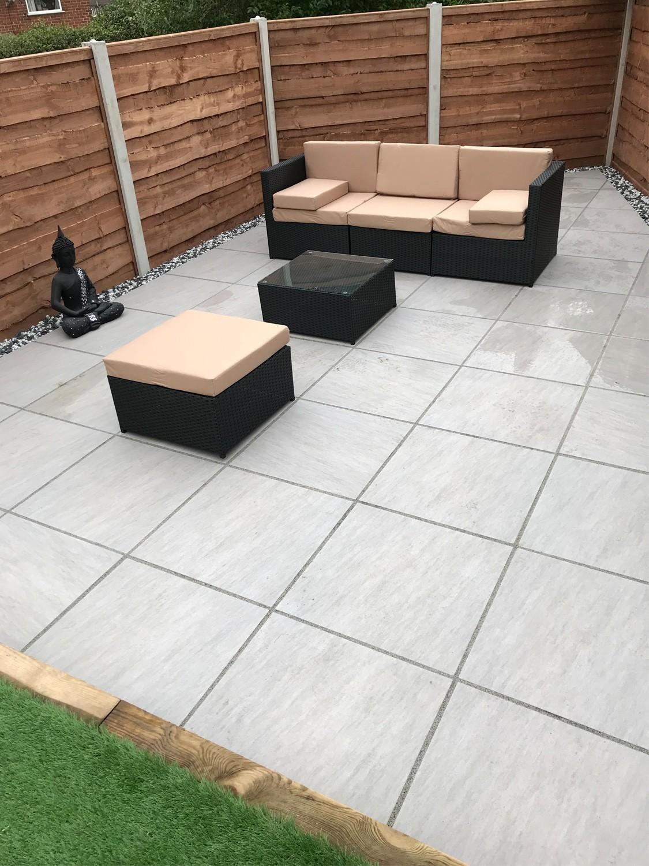 terrace slabs quartz gris smooth stone look porcelain paving slabs - 600x600 pack VDFFNTD