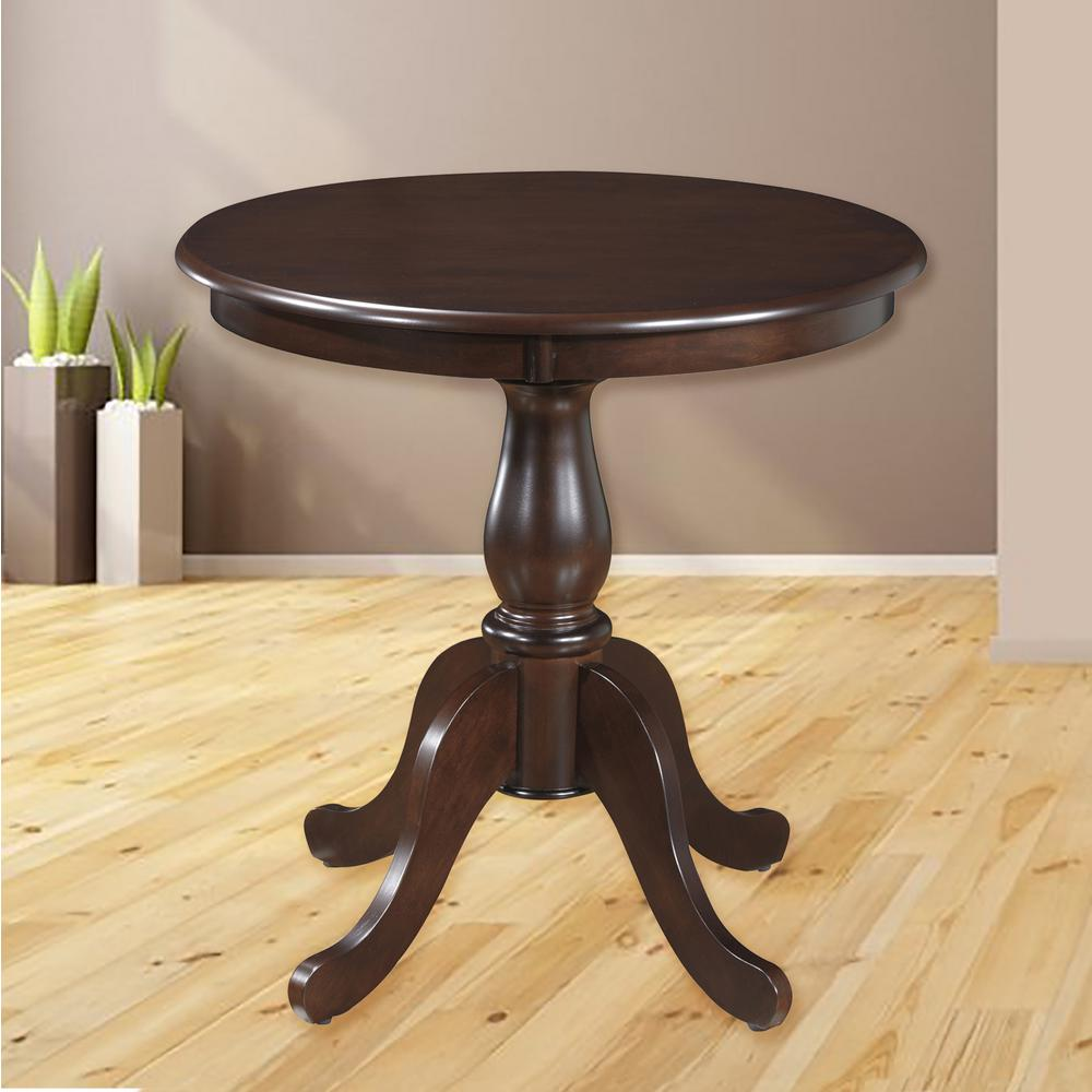 Platform table round platform dining table in espresso QCHDIJZ