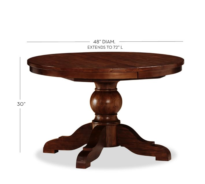 Pedestal table Sumner extendable pedestal dining table, rustic mahogany |  UKCVEXI pottery barn